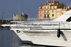 Saint Tropez harbor.bis. Luxurious motor boats anchored in Saint Tropez harbor Royalty Free Stock Images