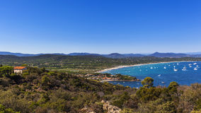 Saint Tropez. Panorama of the famous beach Pampelonne in Saint Tropez, French Riviera royalty free stock photos