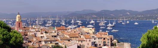 Saint Tropez sea coast. Panorama of Saint-Tropez cityscape, French Riviera royalty free stock photos