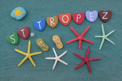 Saint Tropez, souvenir with multicolored heart stones and starfishes Royalty Free Stock Images