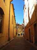 Saint-Tropez street, France. Colored and narrow street in Saint-Tropez, south of France, by beautiful weather royalty free stock images