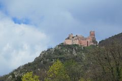 Saint Ulrich castle. Over Ribeauvillé in France Stock Photography