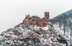 Saint Ulrich Castle in the Vosges Mountains near Ribeauville. Alsace, France. Saint Ulrich Castle in the Vosges Mountains near Ribeauville. Haut-Rhin, France Stock Photography