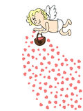 Saint val card. Cute cartoon Cupid throwing red hearts from a basket Royalty Free Stock Photography