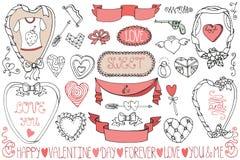 Saint-Valentin, épousant des cadres, ensemble d'élément de décor Image stock