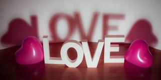 Saint Valentin actuel - aimez avec le fond rose de blanc de ballons de coeur Images libres de droits