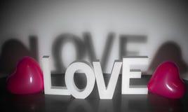 Saint Valentin actuel - aimez avec le fond rose de blanc de ballons de coeur Photographie stock