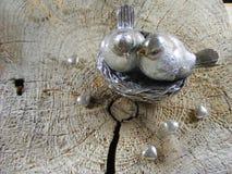 Saint Valentin argenté d'oiseaux Images stock