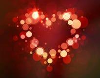 Saint-Valentin brillante de lumi?re de bokeh de coeur Photo stock