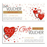 Saint-Valentin de bon de vecteur de bon de cadeau Photographie stock libre de droits