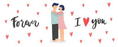 Saint-Valentin et épouser la bannière colorée avec les couples et le texte heureux photos libres de droits