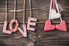 Saint-Valentin faite maison de biscuits Images libres de droits
