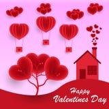 Saint-Valentin, fond rose de carte de voeux, ballons volants de papier réaliste dans le ciel, arbre illustration de vecteur