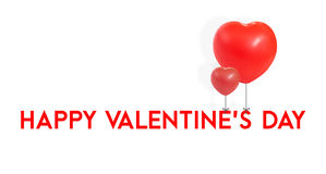 Saint-Valentin heureuse avec le lien rouge de forme de coeur de ballon au type, L Image libre de droits