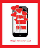 Saint-Valentin heureuse ! Bouquet des coeurs et de l'amour des message textuels au mobile/au téléphone portable Images libres de droits