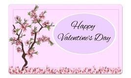 Saint-Valentin heureuse de belle carte de fleur de vecteur illustration de vecteur