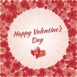 Saint-Valentin heureuse de carte de voeux, coeurs, Photographie stock