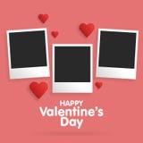 Saint-Valentin heureuse de carte postale avec un calibre vide pour la photo Images libres de droits