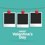 Saint-Valentin heureuse de carte postale avec un calibre vide pour la photo illustration libre de droits