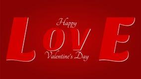 Saint-Valentin heureuse - grand amour sur le fond rouge illustration de vecteur