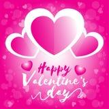 Saint Valentin heureux, blanc et rose de coeur du jour de valentine trois avec le fond rose de bokeh illustration libre de droits