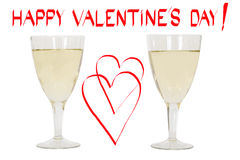 Saint Valentin heureux ! Et deux verres de champagne Photographie stock libre de droits