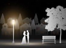 Saint Valentin, mariage, art de papier Images libres de droits
