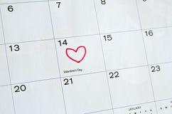 Saint-Valentin marquée sur le calendrier Photographie stock libre de droits