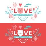 Saint-Valentin marquant avec des lettres la bannière photos libres de droits