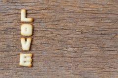 Saint-Valentin, mot d'AMOUR composé de avec lettres de biscuits Photos libres de droits