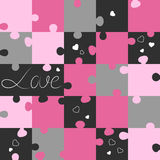 Saint Valentin pattern from puzzles. Jigsaw puzzle game. Vector illustration Stock Images
