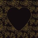 Saint-Valentin. Roses et coeurs d'or. Illustration de vecteur Photos stock