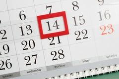 Saint-Valentin sur le calendrier Photographie stock