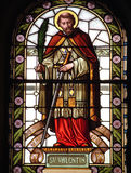Saint Valentine. Stained glass church window with Saint Valentine Royalty Free Stock Photography