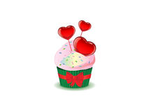 Saint Valentine background. Saint Valentine's background with a cupcake and hearts Royalty Free Stock Image