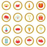Saint Valentine day icons circle. Gold in cartoon style isolate on white background vector illustration Stock Images