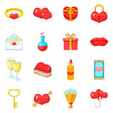 Saint Valentine day icons set, cartoon style Royalty Free Stock Photo