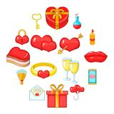Saint Valentine day icons set, cartoon style. Saint Valentine day icons set. Cartoon illustration of 16 Saint Valentine day vector icons for web Royalty Free Stock Photo
