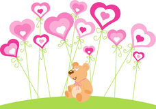 Saint Valentine day - teddy and hearts Stock Photography