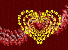 Heart made with colorful hand prints Royalty Free Stock Photography