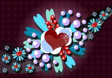 Valentine greeting card with hearts and flowers Stock Image
