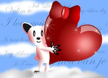 Saint valentine greeting card. With an happy white bear holding a big read heart with ribbon in its hands Stock Photos