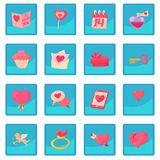 Saint Valentine icon blue app. Saint Valentine set. Cartoon illustration of 16 Saint Valentine vector icon blue app for any design vector illustration Royalty Free Stock Photos