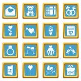 Saint Valentine icons azure. Saint Valentine icoins set. Simple illustration of 16 Saint Valentine vector icons set in azur color isolated vector illustration Royalty Free Stock Photo