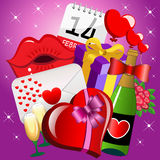 Saint Valentine Icons Background Imagem de Stock Royalty Free
