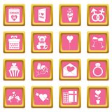 Saint Valentine icons pink. Saint Valentine icoins set. Simple illustration of 16 Saint Valentine vector icons set in pink color isolated vector illustration for Stock Photography