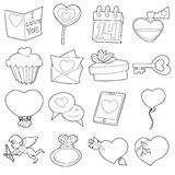 Saint Valentine icons set, cartoon outline style. Saint Valentine set. Cartoon outline illustration of 16 Saint Valentine vector icons for web Royalty Free Stock Images