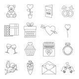 Saint Valentine icons set, outline style Stock Image