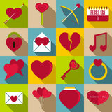 Saint Valentine items icons set, flat style. Saint Valentine items tools set. Flat illustration of 16 Saint Valentine items vector icons for web royalty free illustration