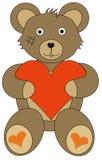 Saint Valentine, love bear. Saint Valentine, love brown bear with heard Stock Photography